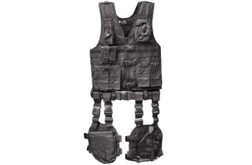 Global Military Gear Tactical Vest 10 Piece Combo - Black, Black GM-TVC1