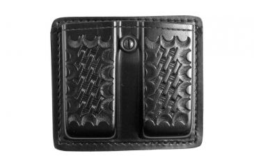 Gould & Goodrich K617 Double Magazine Pouch, Blk Weave - Beretta 92/96, Browning Hi-Power & Similar