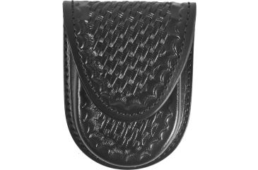 Gould & Goodrich Round Bottom Single Handcuff Case, Hidden Snap, Black Weave