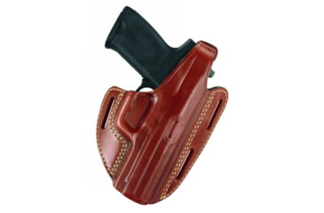 Gould & Goodrich Three Slot Pancake Holster, Chestnut Brown, Right Hand - S&W 10/12 & Similar
