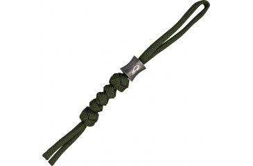 Grindworx Concave Damascus Bead w/ OD Green Cord Lanyard DA15