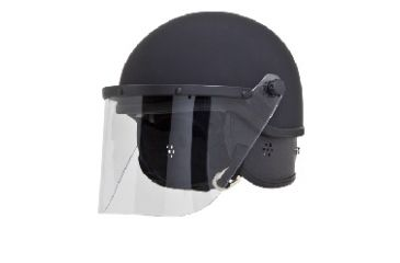 Hatch Polycarbonate Riot Helmet Half Shell w/combi fit pads and 3mm Face Shield, Flat Black, 6 1/2in-7 3/8in