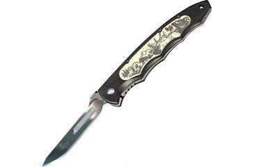 Havalon Piranta Quik-Change Folding Knife, 2.75in, Stainless Skinner Blade, Black Aluminum Handle, Elk laser scrimshaw artwork HV60ELK