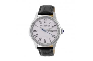 423ed16b0 Heritor Automatic Prescott Leather-Band Watch with Day/Date, White/Black  HERHR6701