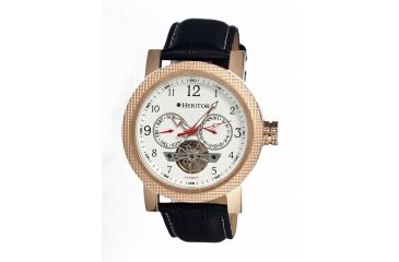 Heritor Millennial Mens Watch, Black Leather Band, Rose Gold Bezel, White Analog Dial, Silver Hand HERHR1503
