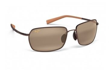 Maui Jim High Tide Sunglasses w/ Metallic Gloss Copper w/ Tan Tips Frame and HCL Bronze Lenses - H323-23, Quarter View