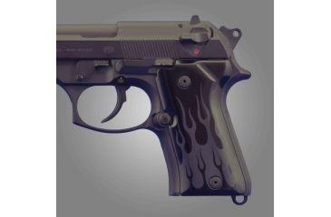 Hogue Beretta 92 Compact Flames Aluminum - Black Anodized 93130