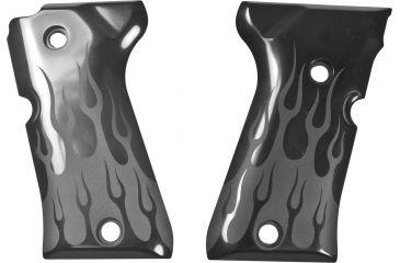 Hogue Beretta 92 Compact Flames Aluminum Grip, Black Anodized 93130