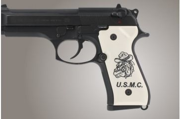 Hogue Beretta 92 Engraved Ivory Polymer Marines Insignia 92030