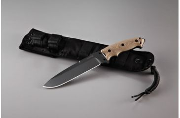 Hogue EX-F01 7in Fixed Drop Point Blade A-2 Black Kote G-10 Scales - G-Mascus Tan 35157