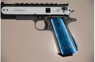 Hogue Govt. Aluminum Magrip Kit - Flames Arched Matte Blue 01233