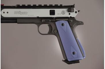 Hogue Govt. Aluminum Magrip Kit - Checkered Arched Matte Blue 01273