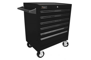Homak 27in Professional Rolling Cabinet w/ 6 Drawers, Black BK04062601