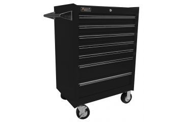Homak 27in Professional Rolling Cabinet w/ 7 Drawers, Black BK04072601