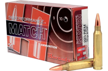 Hornady Superformance Match .223 Remington 75 grain Boat Tail Hollow Point Brass Cased Centerfire Rifle Ammunition 80264 Caliber: .223 Remington, Number of Rounds: 20,