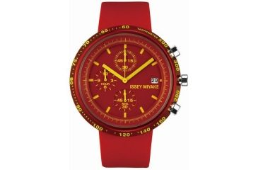 Issey Miyake SILAt003 Trapezoid Al Mens Watch - Red Band, Red Case