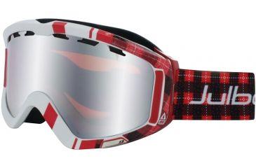 Julbo Down Goggles OTG - Jacquard Red Frame, Silver Flash/Orange tint lens 79612131