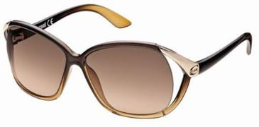 Just Cavalli JC398S Sunglasses - Shiny Dark Brown Frame Color, Gradient Brown Lens Color