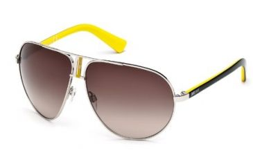 Just Cavalli JC508S Sunglasses - Shiny Palladium Frame Color, Gradient Brown Lens Color