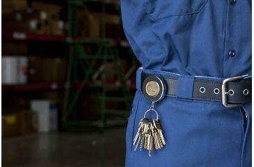 Key-Bak 5 Retractable Reel w/ 24in Stainless Steel Chain, Chrome Front, Steel Belt Clip, Split Ring 0005-011