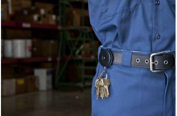 Key-Bak 5B Retractable Reel w/ 24in Stainless Steel Chain, Black Front, Steel Belt Clip, Split Ring 0005-013