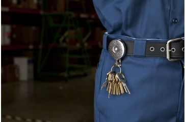 Key-Bak 5H Retractable Reel w/ 24in Stainless Steel Chain, Chrome Front, Steel Belt Clip, Split Ring, Huskey Key Hook 0005-101