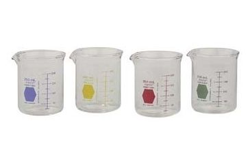 Kimble/Kontes KIMAX Color-Coded Griffin Beakers, Double Scale, Borosilicate Glass, Kimble Chase 14000R 250 Raging Red Graduations