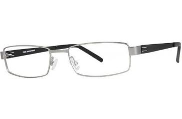 LAmy Dasko 1015 Single Vision Prescription Eyeglasses - Frame Matte Silver/Black, Size 55/18mm LYDASKO101506