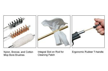 Leapers UTG Pistol Cleaning Kit - Bore Brushes, Cleaning Patch and T-Handle