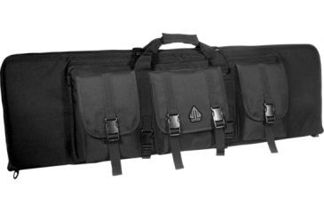 Leapers Combat Web Gun Case 42'' with Double Shoulder Straps, Black PVC-RC42B