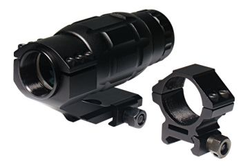 1-Leapers Golden Image 3X Magnifier with Low Profile Straight Ring and High Profile Angled Ring Mount SCP-MAG3X