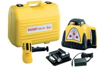 Leica Geosystems Rugby 100LR Construction Laser Package w/ Rod Eye Classic Sensor & Rechargeable Battery 740566
