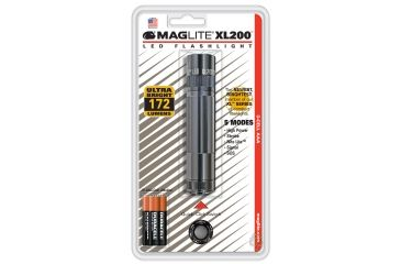 Mag-Lite XL-200 3-Cell AAA LED Flashlight, Gray Blister Pack S3096