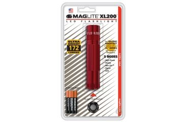 Maglite XL200 LED Flashlight, Red Blister Pack S3036