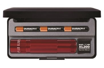 Maglite XL200 3C AAA LED Flashlight, Red Presentation Box S3037