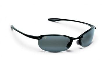 Maui Jim Makaha Sunglasses w/ Gloss Black Frame and Neutral Grey Lenses - 405-02, Quarter View
