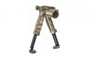 Mako Group Tactical Vertical Foregrip w/Integrated Adjustable Bipod, 1in Flashlight Adaptor - Flat Dark Earth