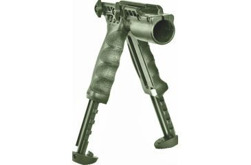 Mako Group Tactical Vertical Foregrip w/Integrated Adjustable Bipod, 1in Flashlight Adaptor - Olive