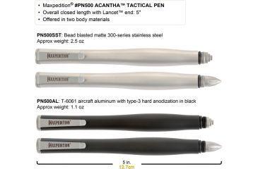 Maxpedition Acantha 5 in. Tactical Pen, Aluminum-Black PN500AL