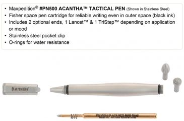 Maxpedition Acantha 5 in. Tactical Pen, Stainless Steel-Silver PN500SST