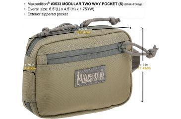 Maxpedition Modular Two Way Pocket, Small, Khaki-Foliage, Khaki-Foliage 3533KF