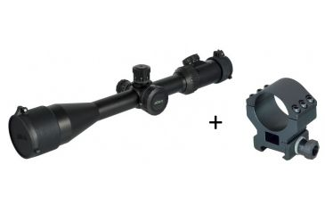 Millett 4-16x50 Tactical Riflescope, Matte Black w/ Illuminated Mil-Dot Bar Reticle BK81001 w/ Millett 30mm Tactical Detachable Ring, Low, Matte Black DT00713