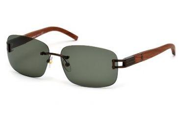 Mont Blanc MB408S Sunglasses - Matte Dark Brown Frame Color, Green Lens Color