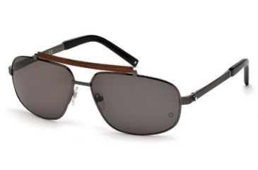 Mont Blanc MB455S Sunglasses - Shiny Gunmetal Frame Color, Smoke Lens Color