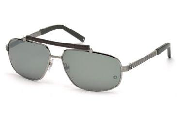Mont Blanc MB455S Sunglasses - Shiny Light Ruthenium Frame Color, Smoke Mirror Lens Color