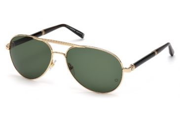 Mont Blanc MB458S Sunglasses - Shiny Rose Gold Frame Color, Green Lens Color