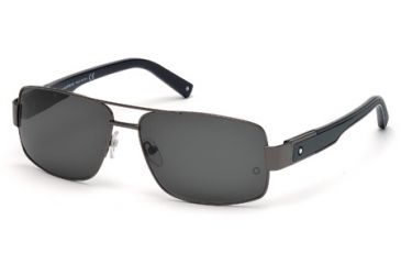 Mont Blanc MB460S Sunglasses - Shiny Gunmetal Frame Color, Smoke Lens Color