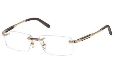 Montblanc MB0349 Eyeglass Frames - Shiny Rose Gold Frame Color