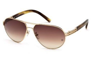 Montblanc MB401S Sunglasses - Shiny Rose Gold Frame Color, Gradient Brown Lens Color