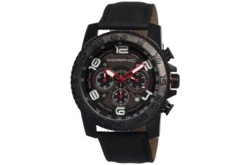 Morphic 0204 M2 Series Mens Watch, Black Dial w/ Black Leather Band, Black Stainless Case MPH0204